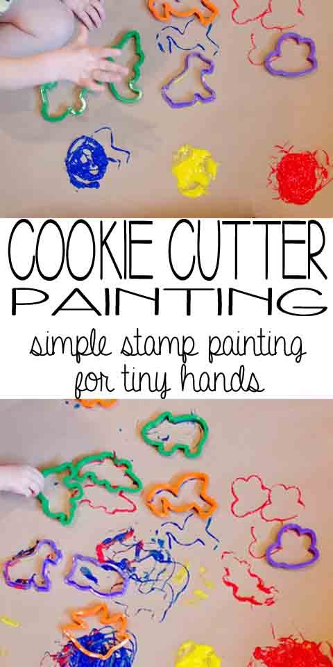 Cookie Cutter Painting: simple stamp painting for tiny hands
