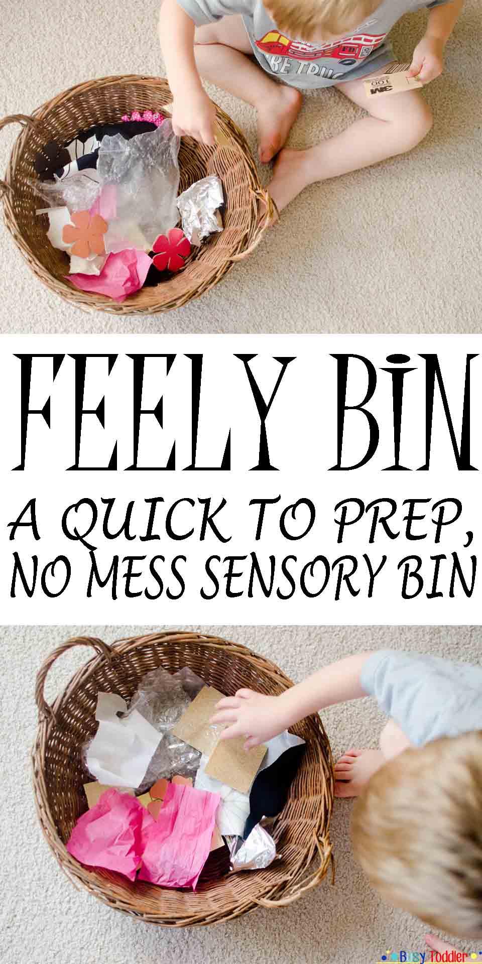 Feely Bin: an easy, mess free sensory bin