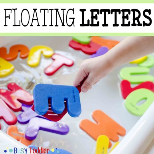 Floating Letters: a simple kitchen sink activity perfect for toddlers and preschoolers; an easy indoor activity; quick and easy toddler activity
