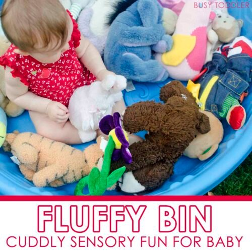 FLUFFY BIN: Make a cuddly sensory experience for baby with this simple activity; easy baby activity