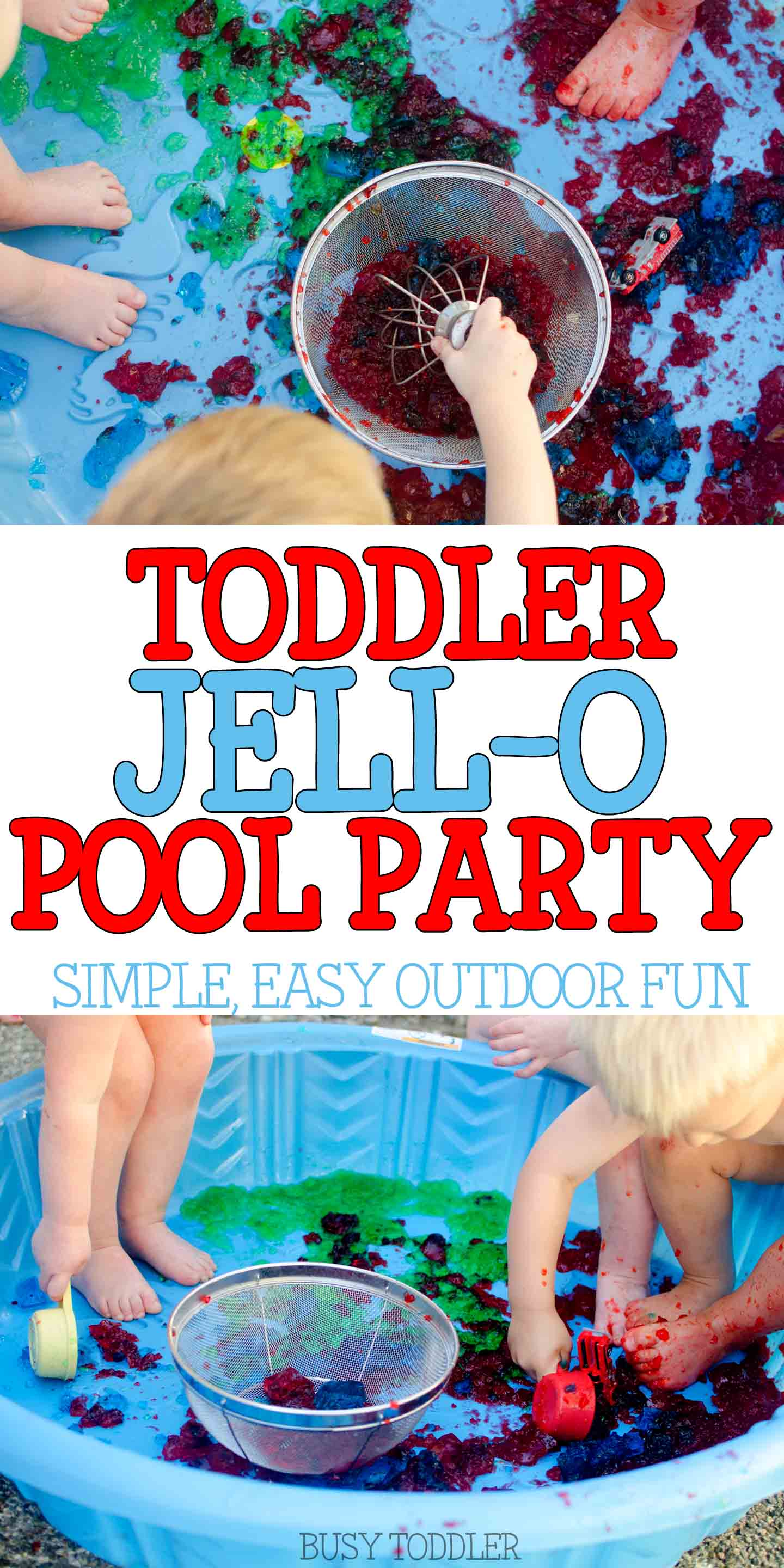 JELL-O POOL PARTY: Host a hilarious toddler activity this summer - make a Jell-o Pool! An easy outdoor activity; fun summer activity