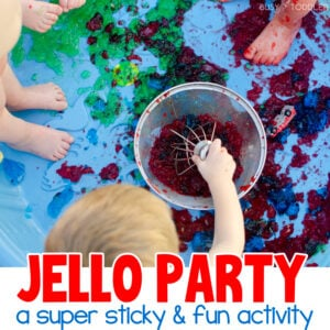 JELLO PARTY: Need a fun win this summer? Try making a Jello sensory bin. It's a messy good time for kids of all ages and a great outdoor activity. Such a fun way to play with a kiddie pool from Busy Toddler
