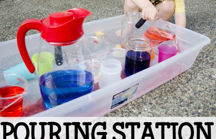 Pouring Station: A fantastic no-cost toddler activity that's fast and easy to set up