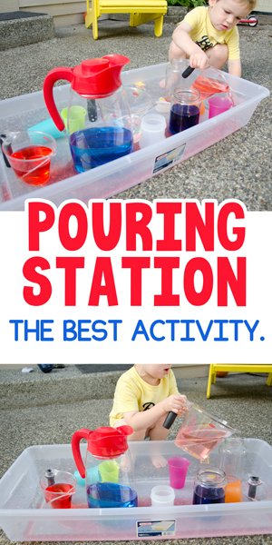POURING STATION ACTIVITY FOR TODDLERS:  a quick and easy toddler activity that kids will love. A fun summer activity for toddlers that's free. An easy activity that your kids will love from Busy Toddler.