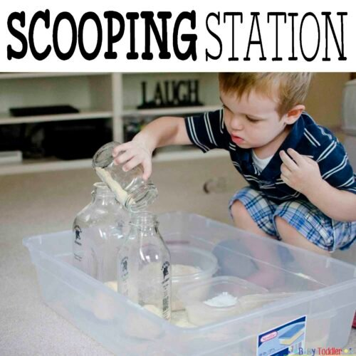 SCOOPING STATION: An easy toddler activity that takes seconds to prep but holds attention spans much longer.