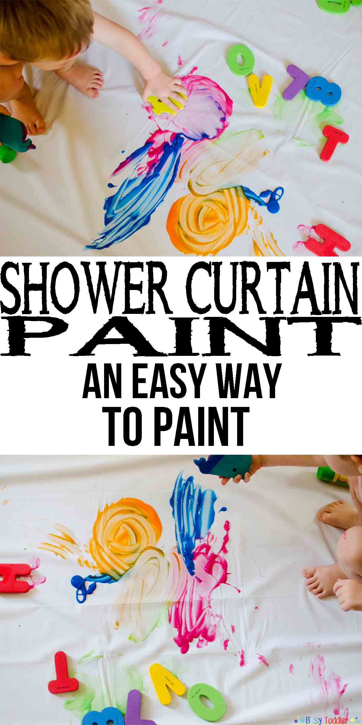 Shower Curtain Paint: an easy way to paint with a toddler