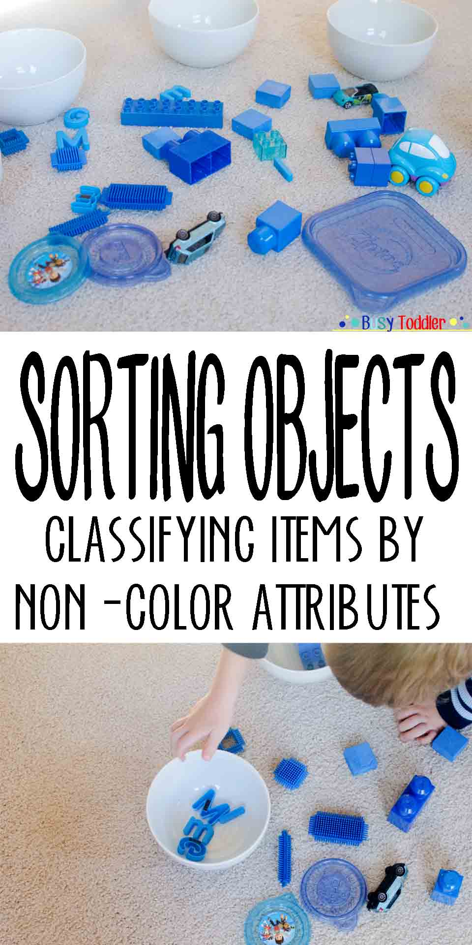 Sorting Objects: Classifying items by non-color attributes