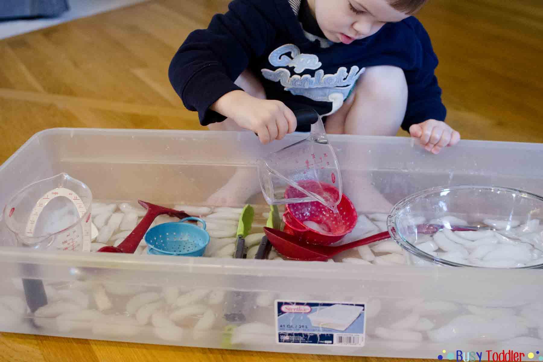 ICE BATH FUN: a cold sensory toddler activity