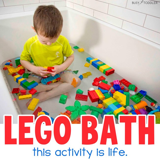 LEGO BATH: The best kids activity and it holds their attention for so long. The best bathtime activity for kids and it's so easy. You have to try this fun activity from Busy Toddler