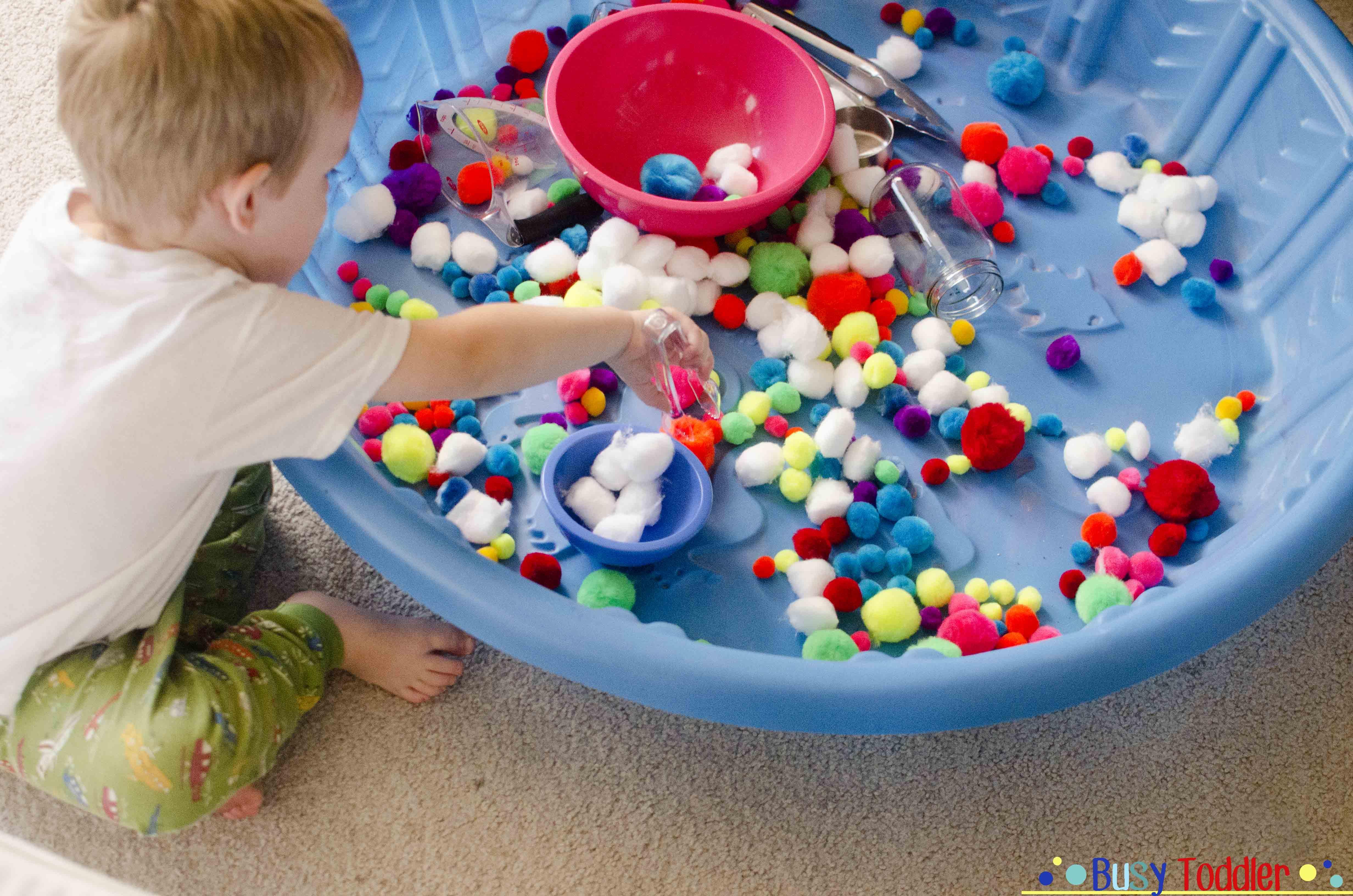 Pom Pom Pool: a soft, comfy sensory bin