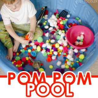 POM POM POOL: A soft sensory bin that's perfect for indoor days; an easy toddler activity