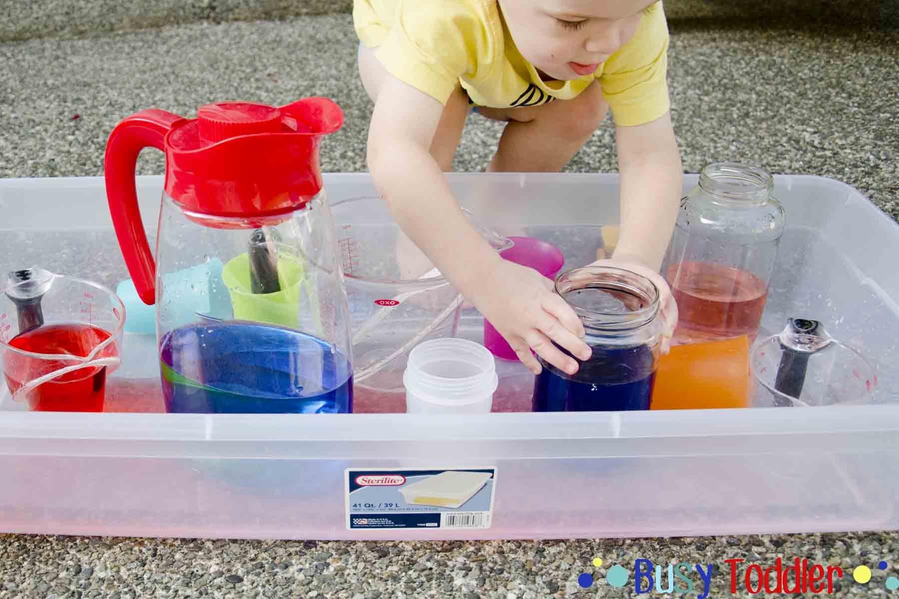 Pouring Station Activity for Toddlers Busy Toddler