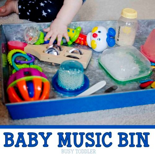 BABY MUSIC BIN: A musical sensory experience for baby using homemade instruments and noisemakers; easy baby activity