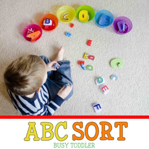 ABC SORT: A fun alphabet sorting activity for toddlers and preschoolers; easy math activity, easy literacy activity