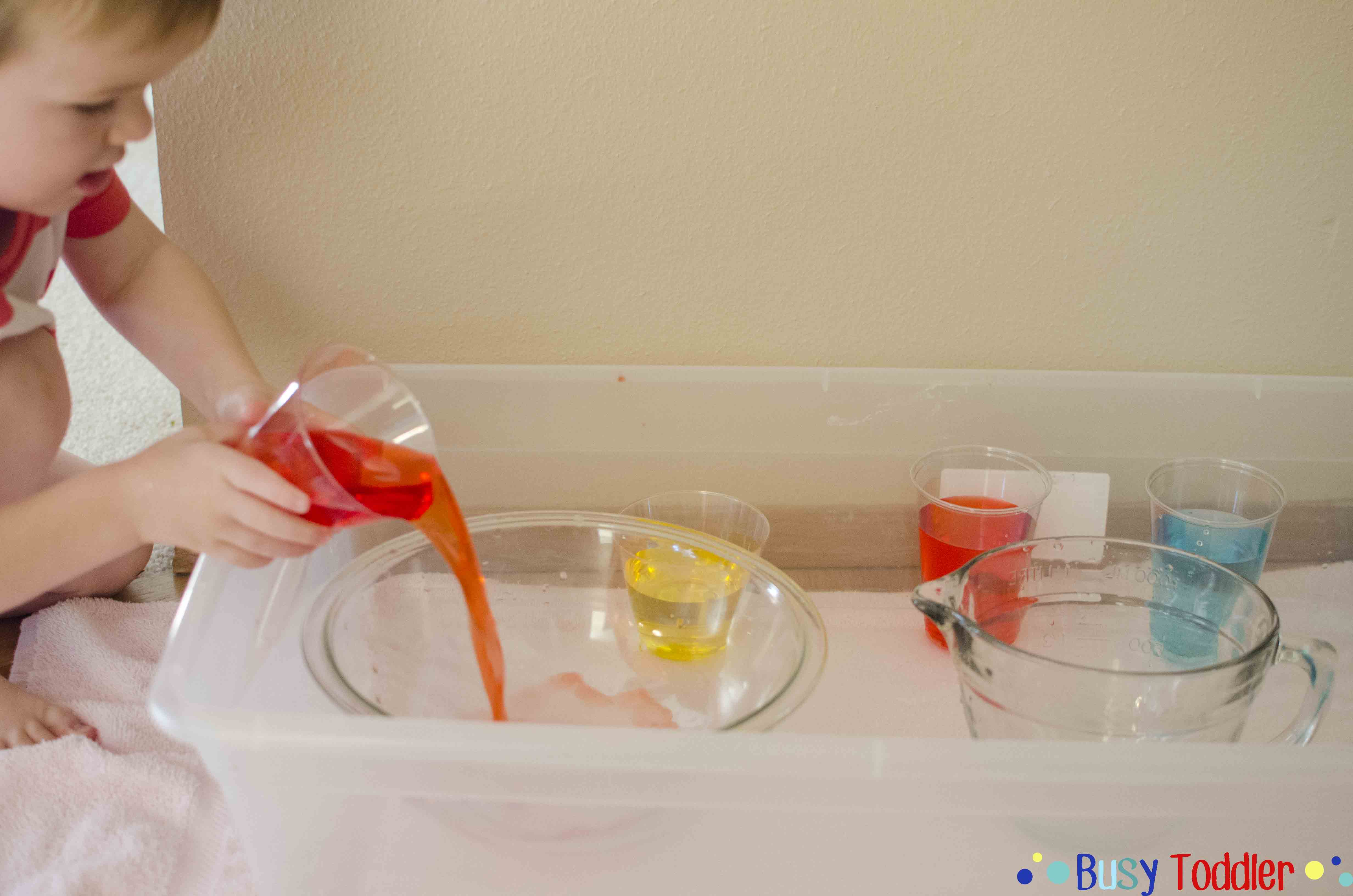 Color Mixing: a fun little pouring activity for happy little hands