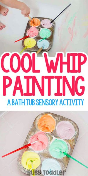 COOL WHIP PAINTING: A quick and easy bath time activity that toddlers will love; a fun bath activity, easy indoor activity, sensory art activity from Busy Toddler