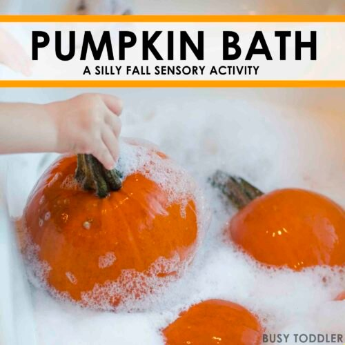 PUMPKIN BATH: A fun fall sensory activity washing pumpking; an easy indoor activity for toddlers