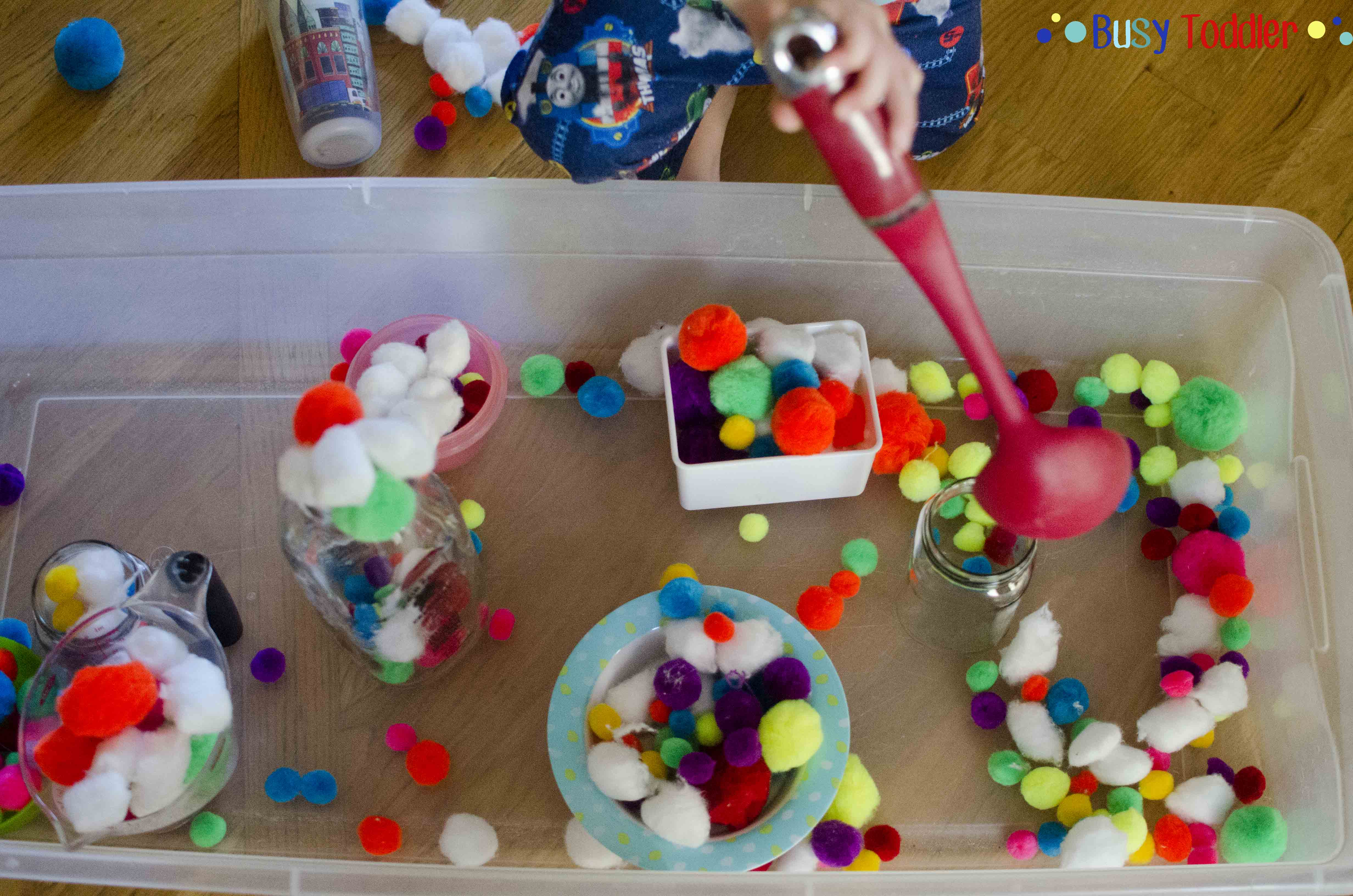 Pom Pom Pouring: a no mess transfer activity