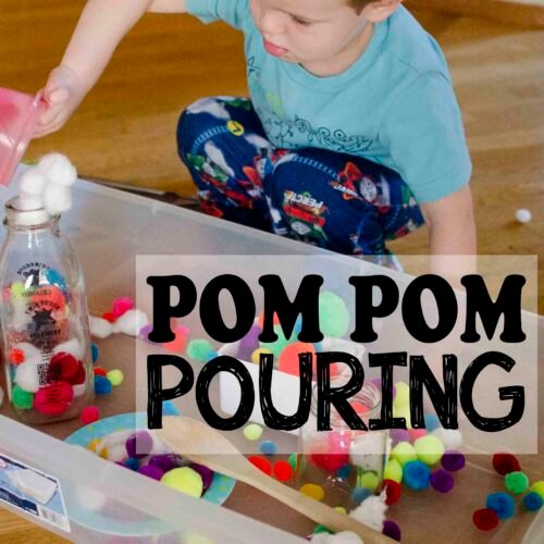 POM POM POURING: A fast and easy toddler sensory activity; easy toddler activity; fun activity for a rainy day