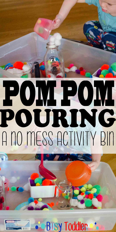 Pom Pom Pouring: a no mess transfer activity