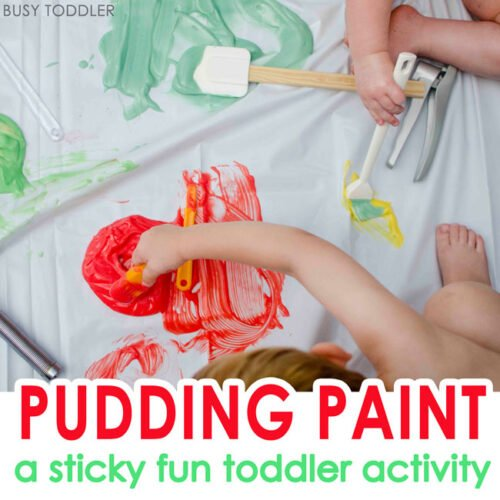 PUDDING PAINT: A sticky fun toddler activity that's perfect for summer; an easy summer activity for toddlers; sensory fun; messy art; sensory art for toddlers, a quick and easy toddler activity - Busy Toddler