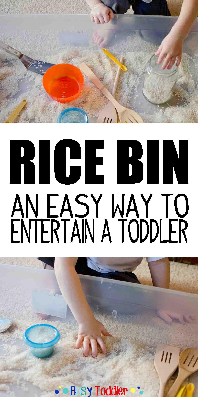 RICE BIN: An easy to prep toddler activity