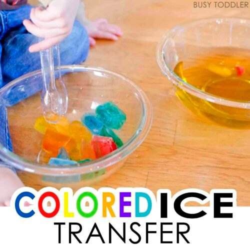 COLORED ICE TRANSFER: A fun toddler science activity; easy indoor activity