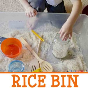 RICE BIN: A quick and easy toddler activity