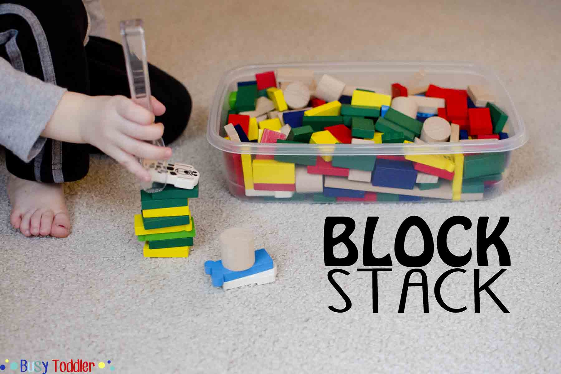 BLOCK STACK: A fine motor skills toddler activity with tongs