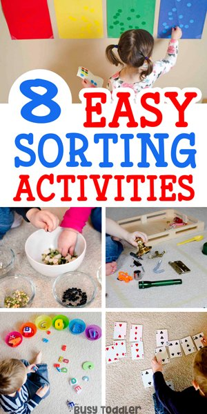 SORTING ACTIVITIES: So many easy sorting activities for toddlers; easy indoor activities for toddlers; learning activities from busy toddler