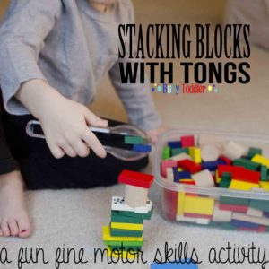 BLOCK STACK: A fine motor skills activity with tongs