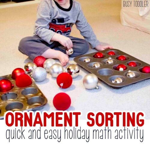 ORNAMENT SORTING: Try this fun holiday math activity sorting ornaments! A simple toddle math activity; indoor activity; toddler christmas activity