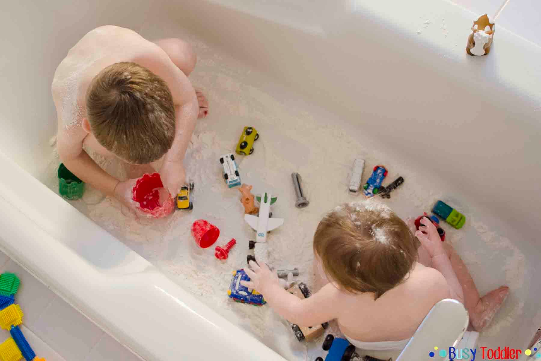 snow tub bath time activity busy toddler. Black Bedroom Furniture Sets. Home Design Ideas