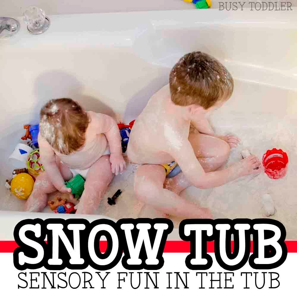 SNOW TUB:  A quick and easy sensory activity that toddlers will love. Toddlers love this easy bath time activity; a messy sensory activity from Busy Toddler