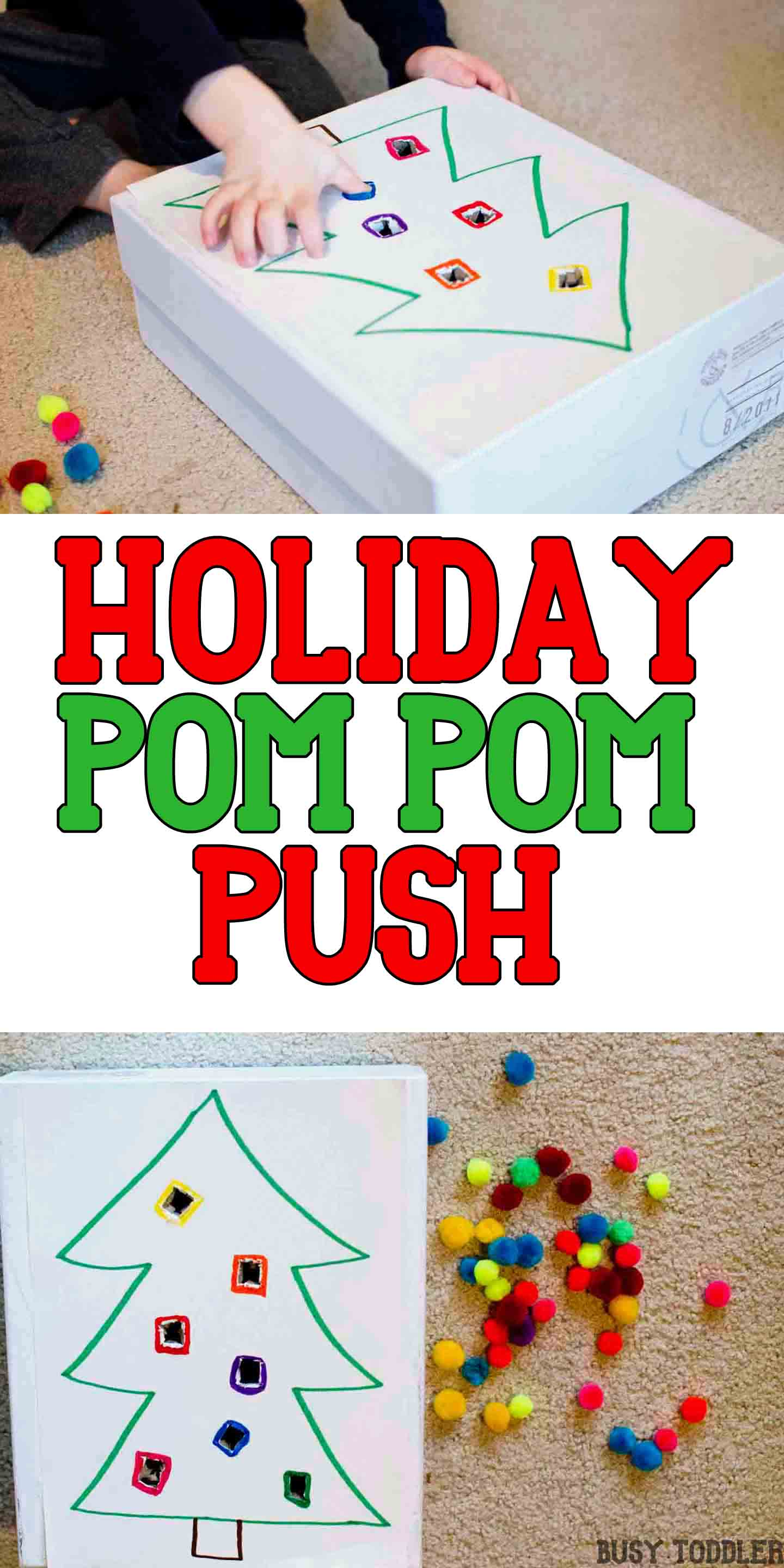 HOLIDAY POM POM PUSH: A quick and easy fine motor activity for toddlers; an easy math activity for toddlers;