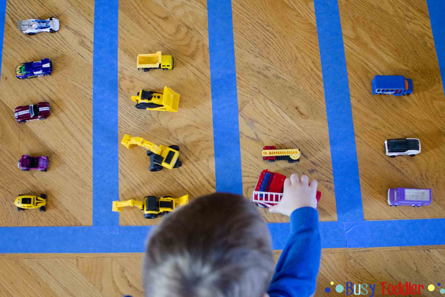 TODDLER MATH SORTING AND GRAPHING: Using toy cards to create a simple toddler math activity