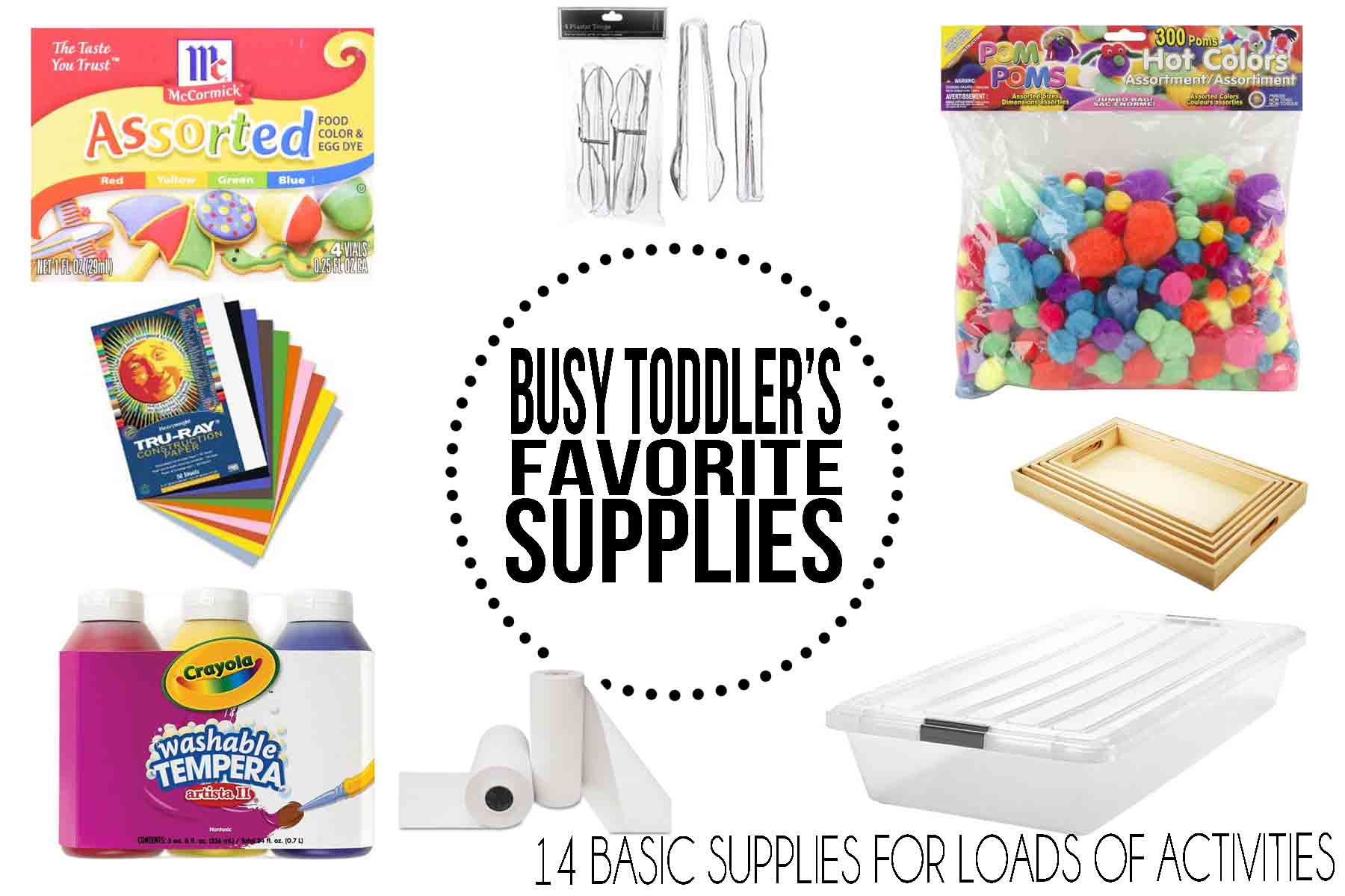 Toddler Activity Supplies: Basic supplies to have on hand