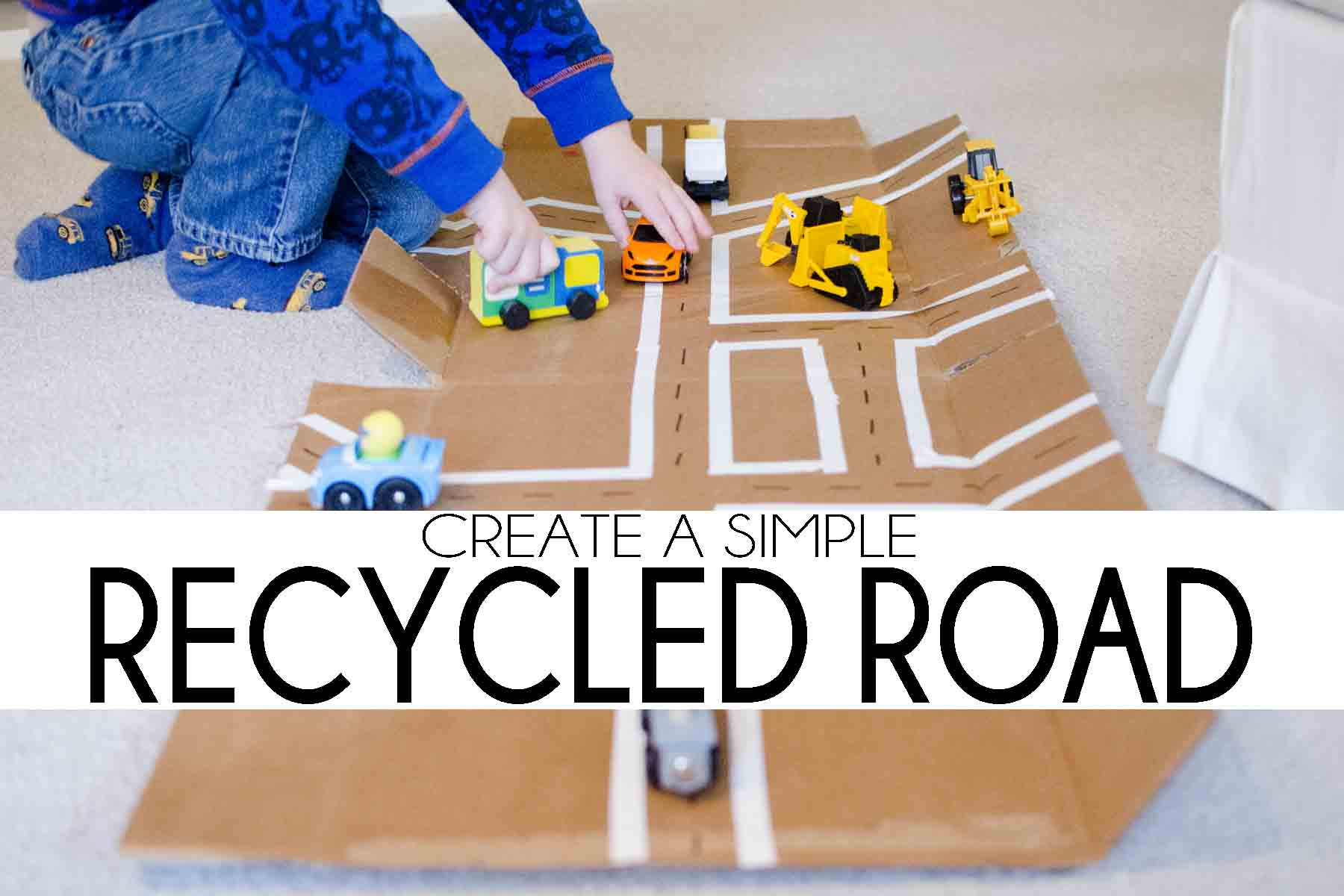 RECYCLED ROAD: Create a simple imaginative play activity
