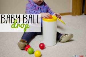 BABY BALL DROP: a simple DIY activity for baby to play