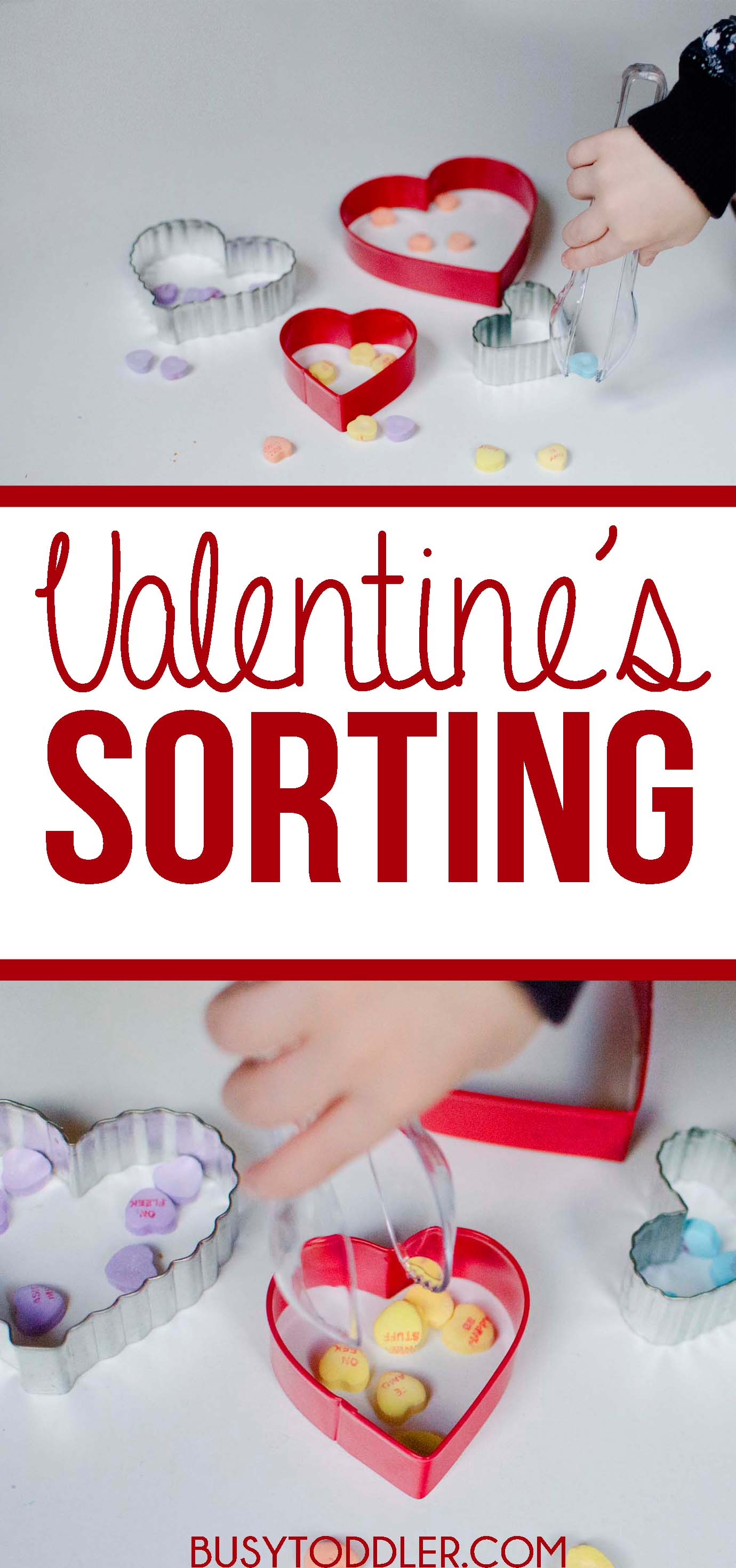 VALENTINE'S DAY SORTING ACTIVITY: A fun toddler activity sorting conversation hearts.
