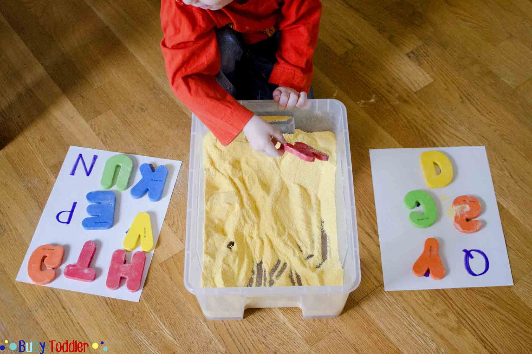 letter hunt a simple sensory and literacy activity for toddlers and preschoolers introducing the