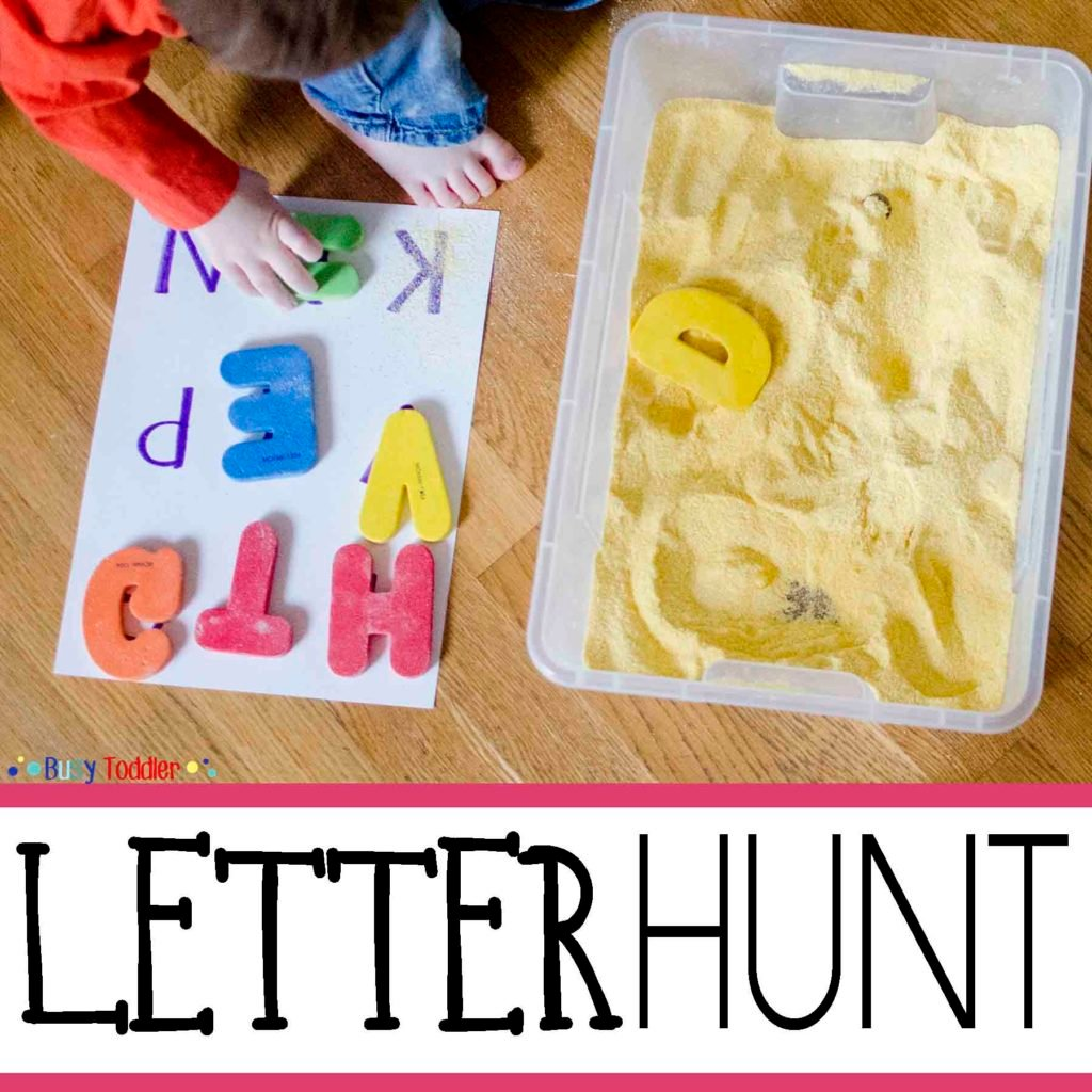 LETTER HUNT: A simple sensory and literacy activity for toddlers and preschoolers; introducing the alphabet; an easy indoor activity