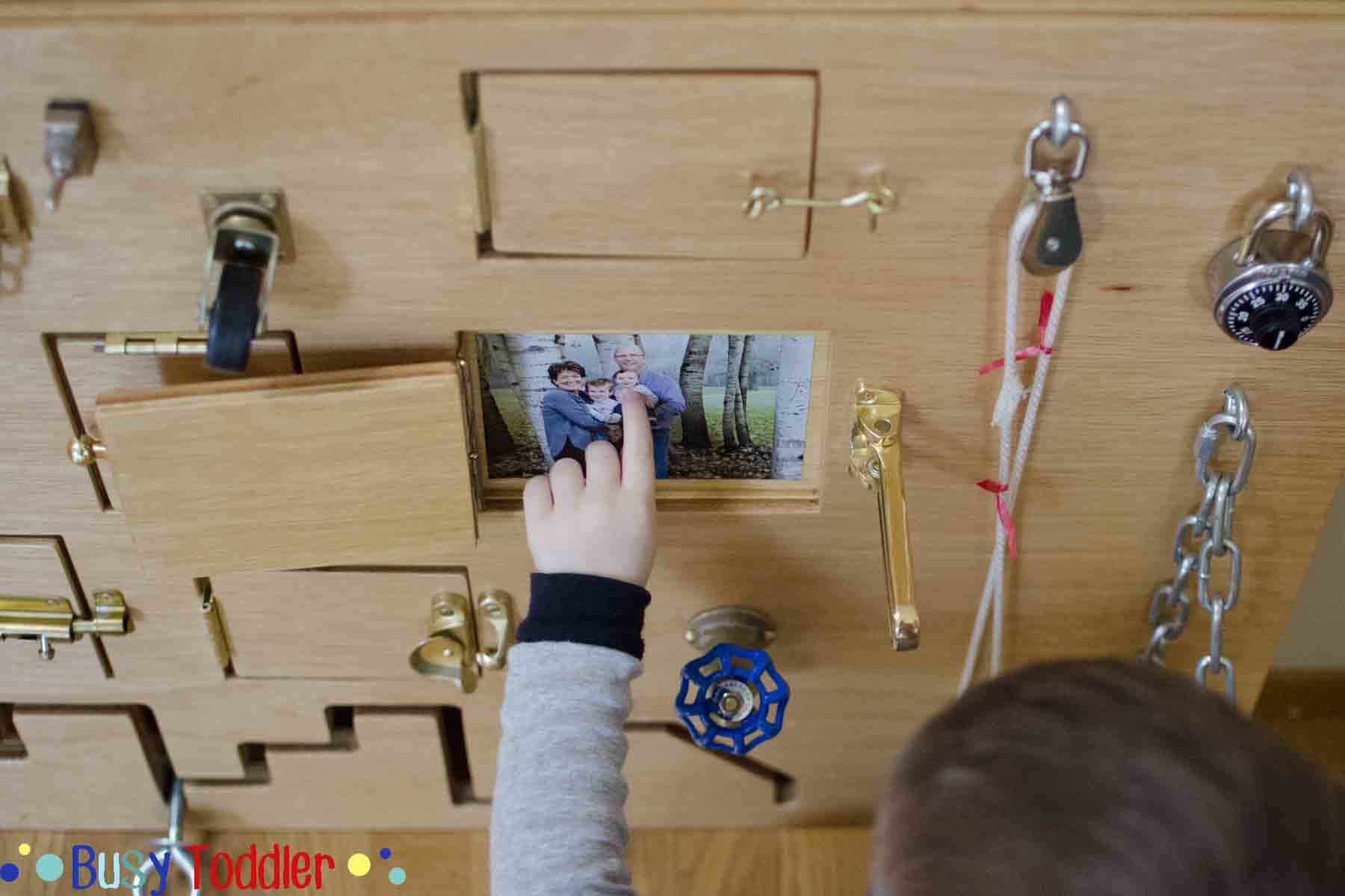 Toddler Busy Board: Peek-a-Boo Edition - Busy Toddler
