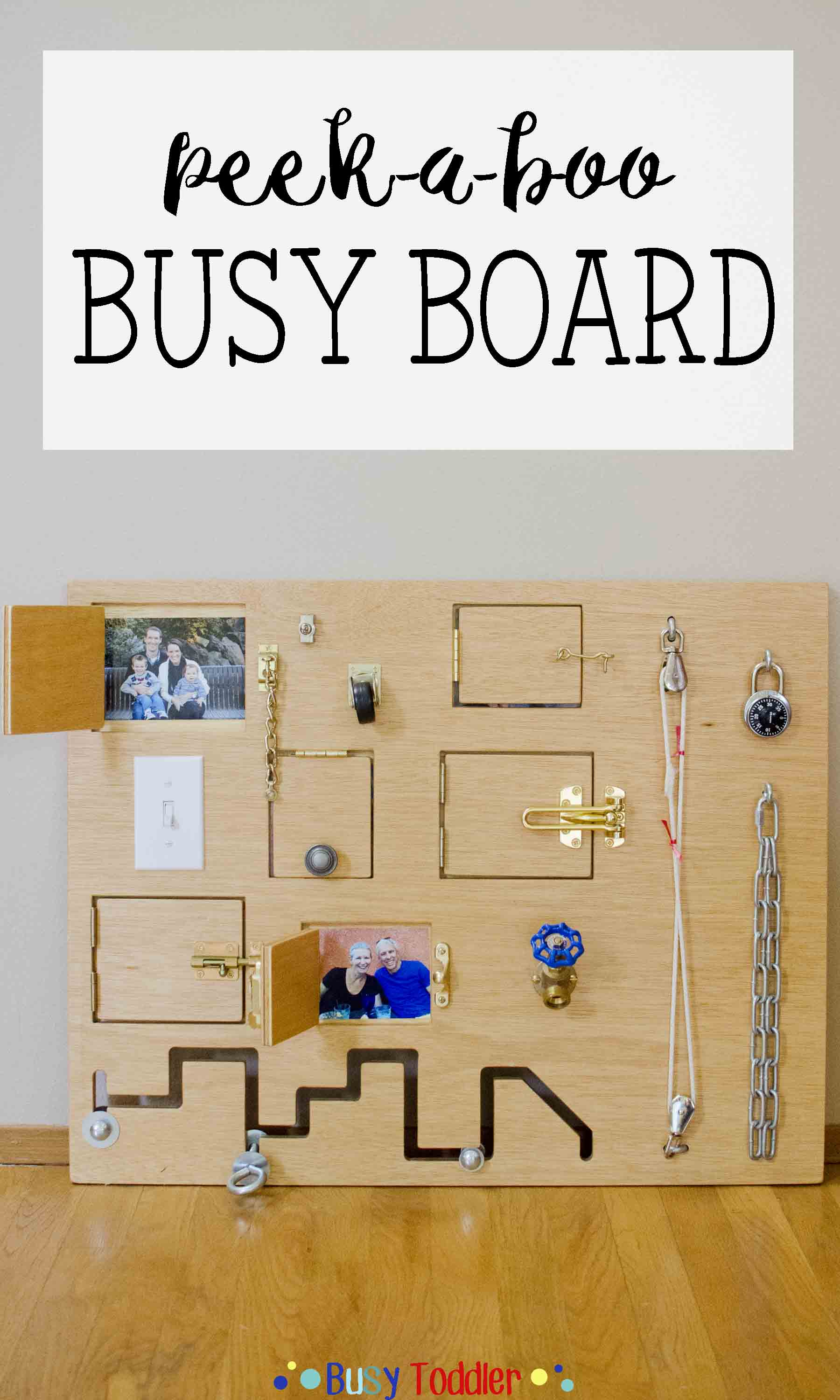 TODDLER BUSY BOARD: A fantastic DIY toy perfect for babies, toddlers, and preschoolers. A great indoor activity that works on fine motor skills.