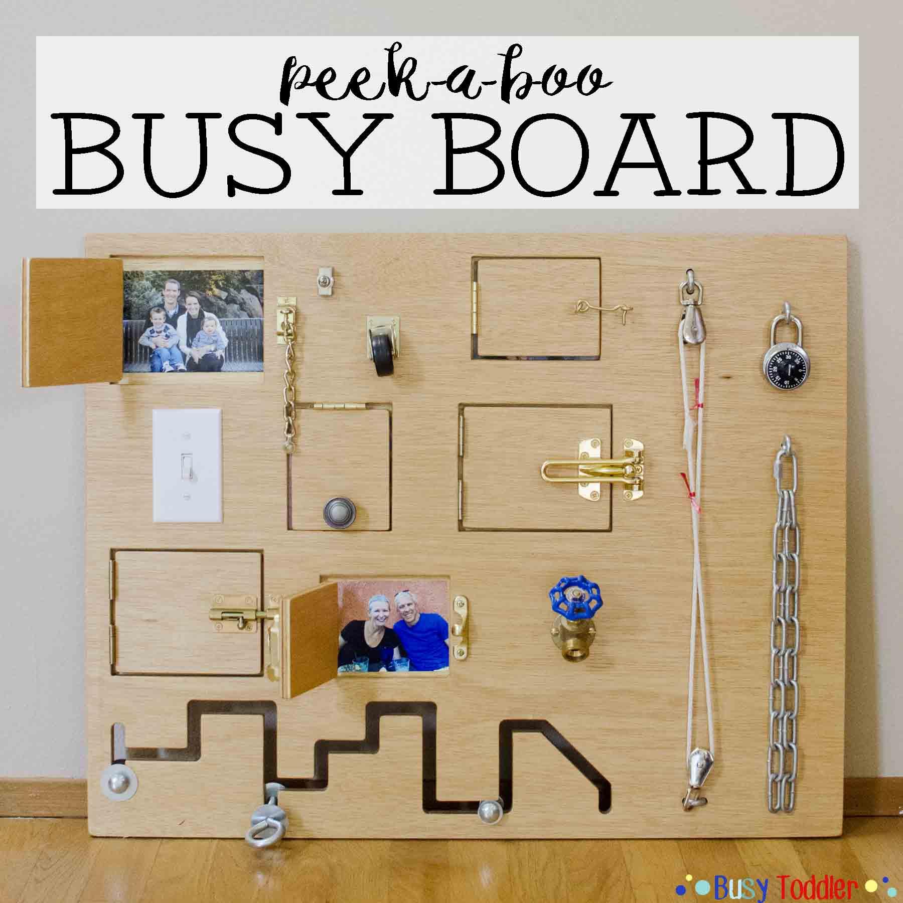 Toddler Busy Board: Peek-a-Boo Edition