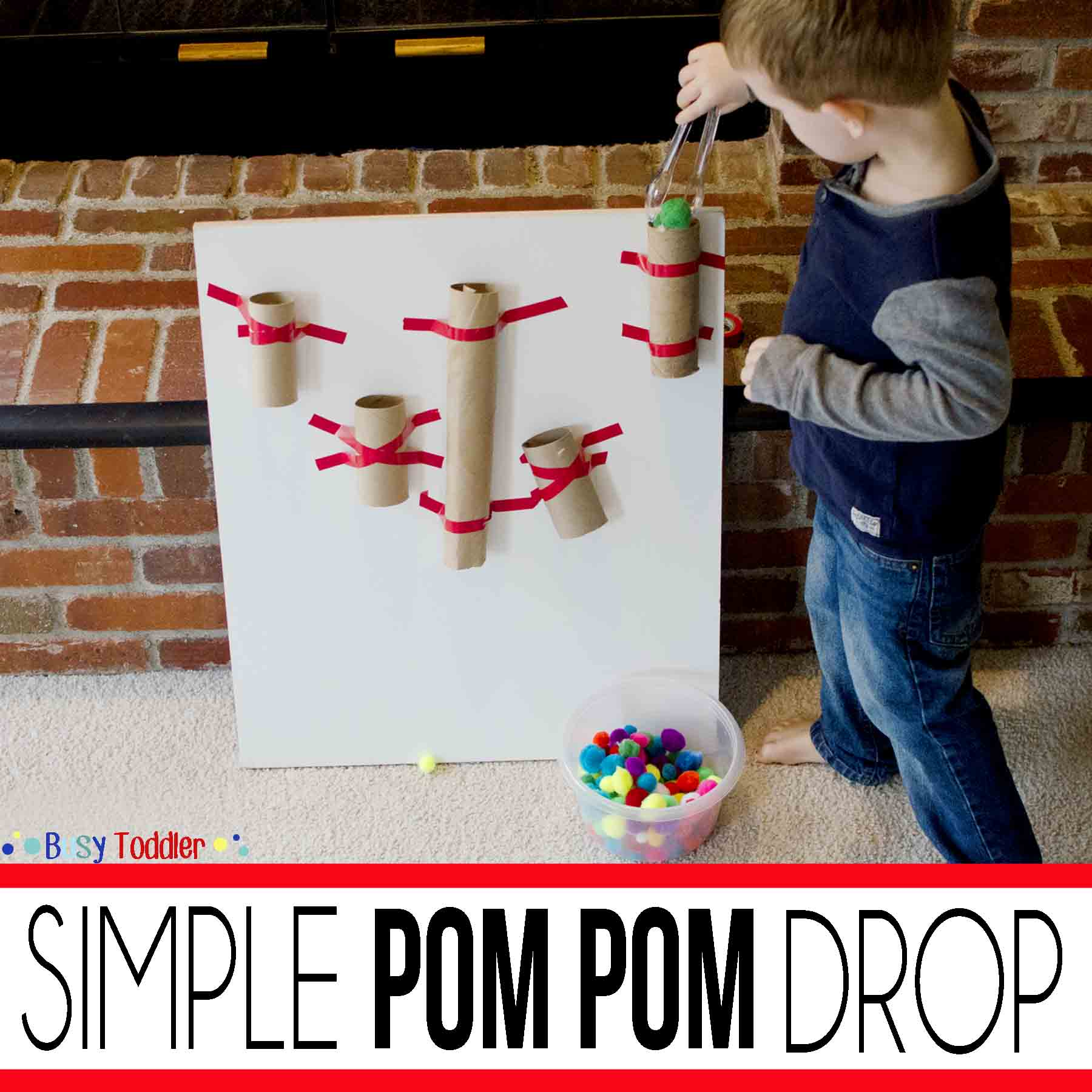 SIMPLE POM POM DROP: Create an easy toddler activity using recycled toilet paper tubes. Toddlers will love this fun play activity.