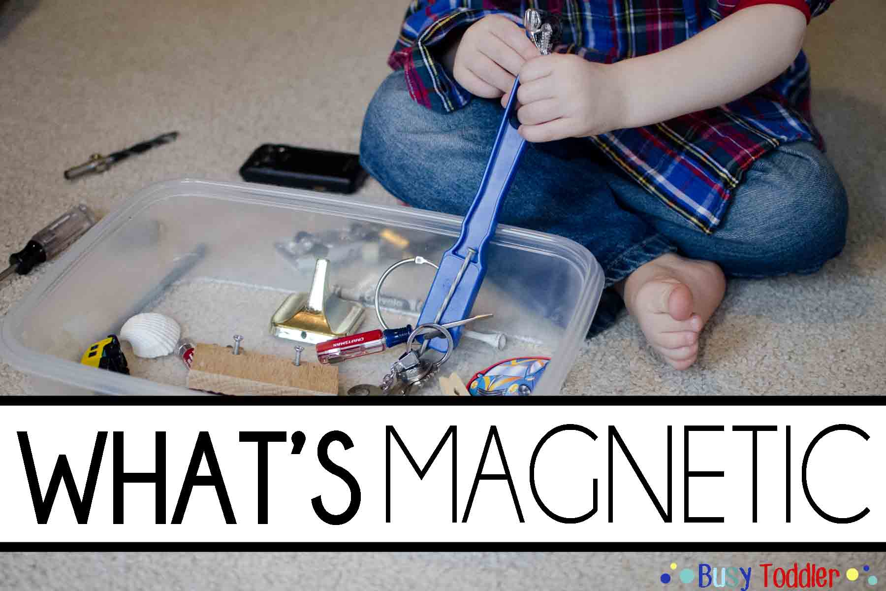 WHAT'S MAGNETIC: A simple toddler science activity that's quick and easy and a perfect indoor activity.