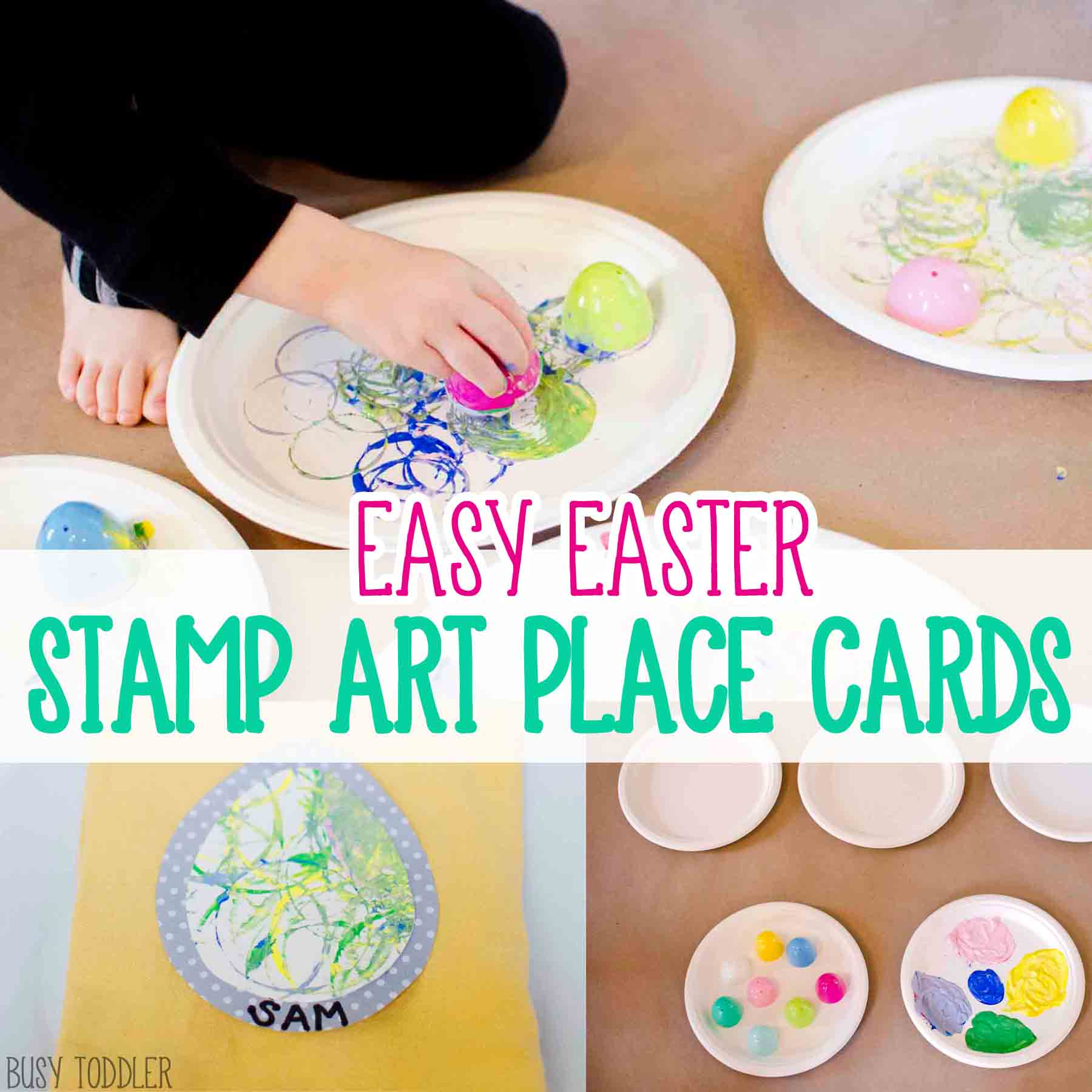 EASTER EGG STAMP ART: We love these simple easter place cards! Kid made place cards that are perfect for Easter brunch or dinner. Toddlers made art, preschool made art. What a great, easy activity! Busy Toddler.