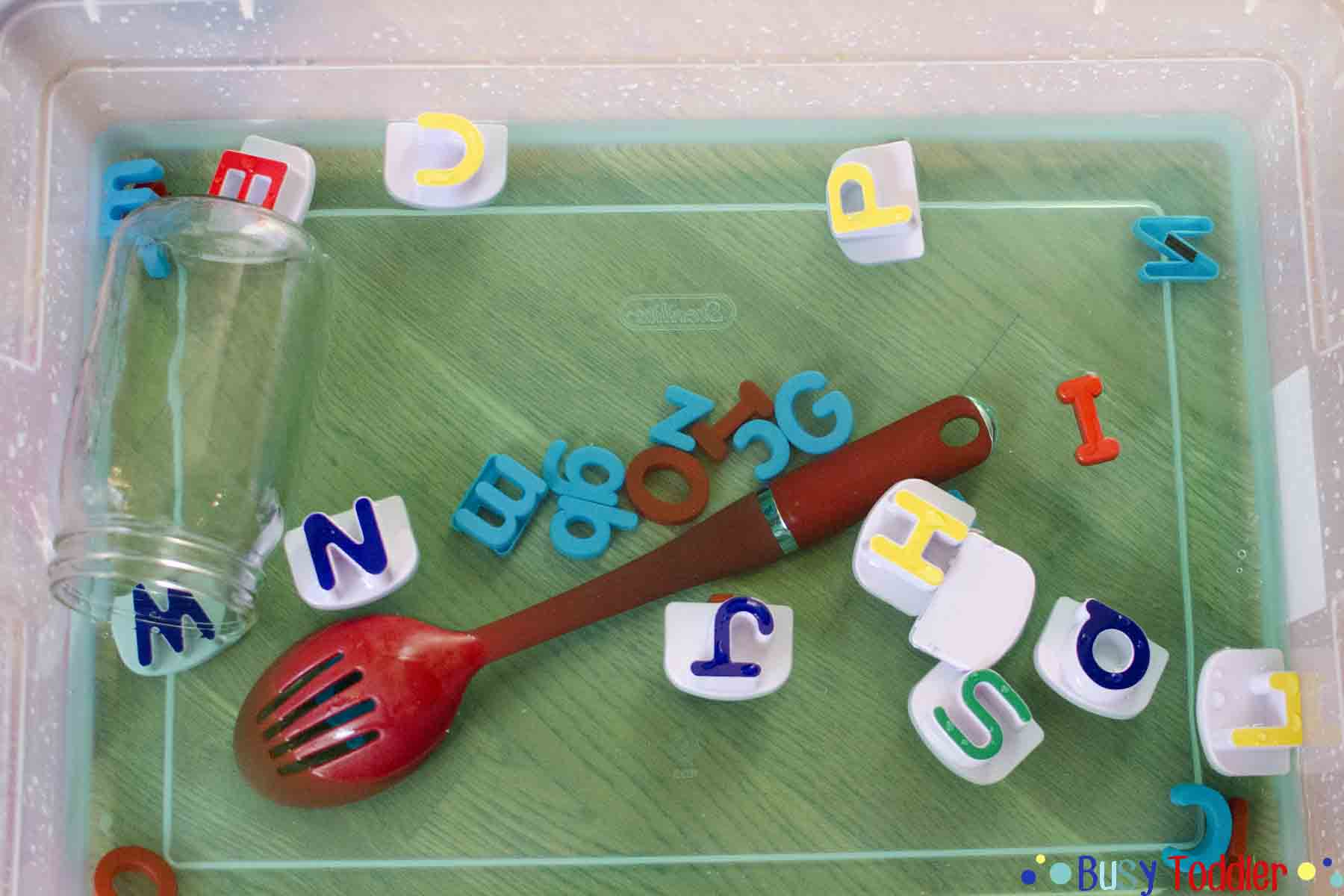 ALPHABET SOUP: A no-cost high fun toddler activity. A water sensory activity for babies, toddlers, and preschoolers.