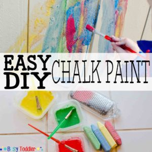 DIY CHALK PAINT: Make your own chalk paint in under 5 minutes! A great outdoor activity for toddlers, preschoolers, and kids of all ages.